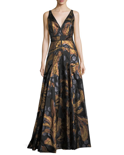 Sleeveless V-Neck Brocade Gown