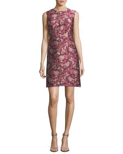 Sleeveless Floral Brocade Dress