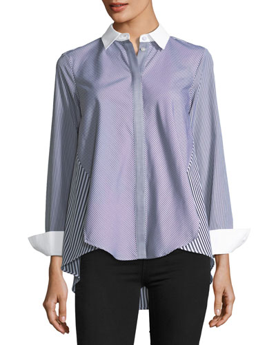 Mix-Stripe Trapeze Blouse