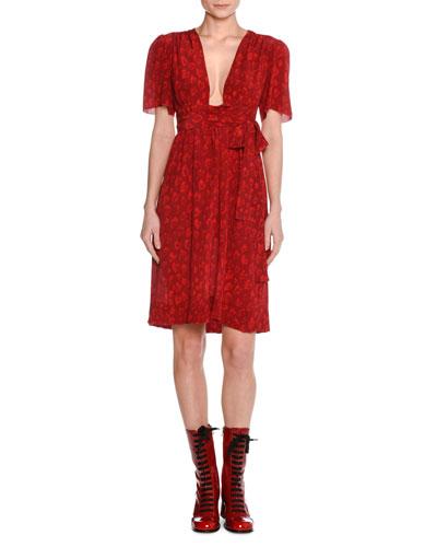 Heart-Print Silk Dress