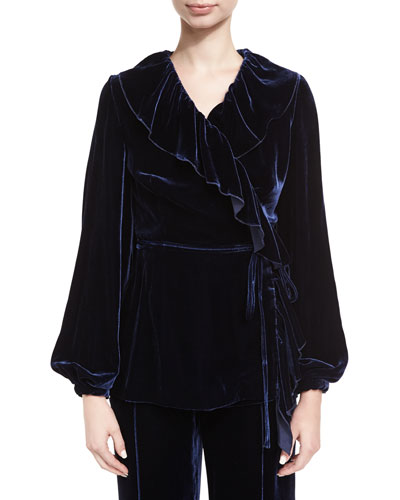Ruffled Velvet Wrap Top
