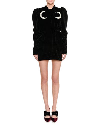 Moon-Embroidered Velvet Mini Dress