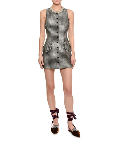 Embellished Houndstooth Mini Dress