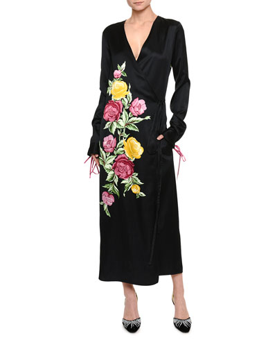 Floral-Embroidered Wrap Dress