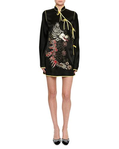 Dragon-Embroidered Satin Kimono Dress