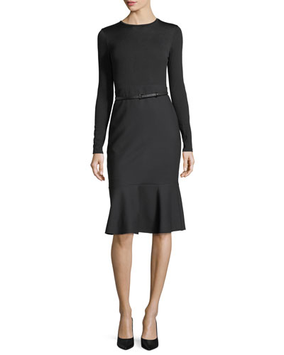 Belted Long-Sleeve Ruffle-Hem Dress