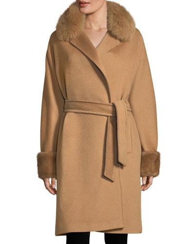 Fur-Trim Camel Hair Wrap Coat