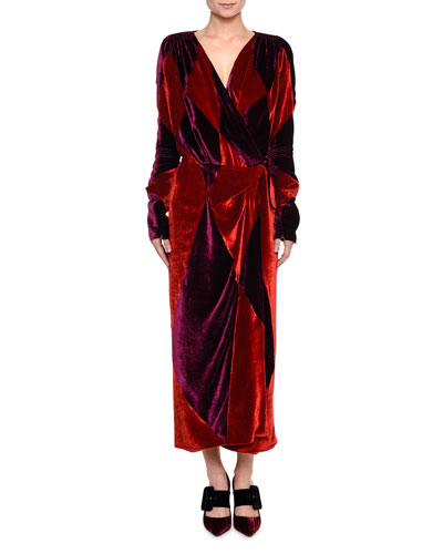 Patchwork Velvet Wrap Dress
