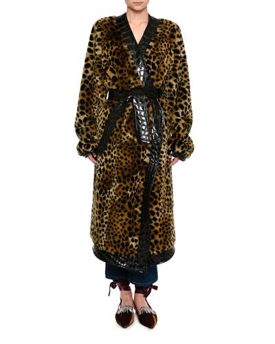 Animal-Print Faux Fur Robe