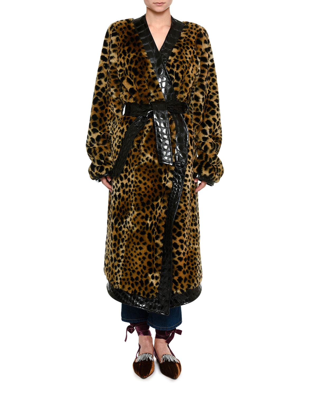 Animal-Print Faux Fur Robe