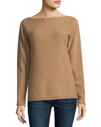 Boat-Neck Knit Sweater