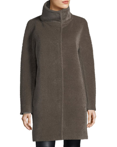 Mock-Neck Alpaca/Wool Coat