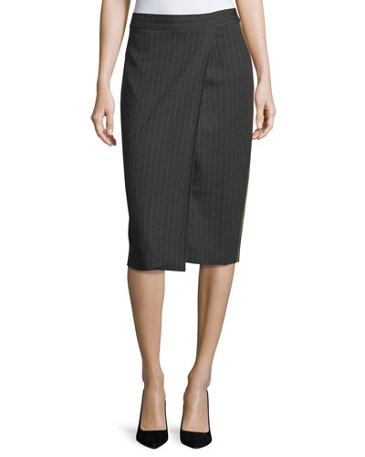 Pinstriped Wrap Skirt