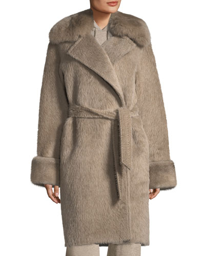 Alpaca Wrap Coat with Fur Collar