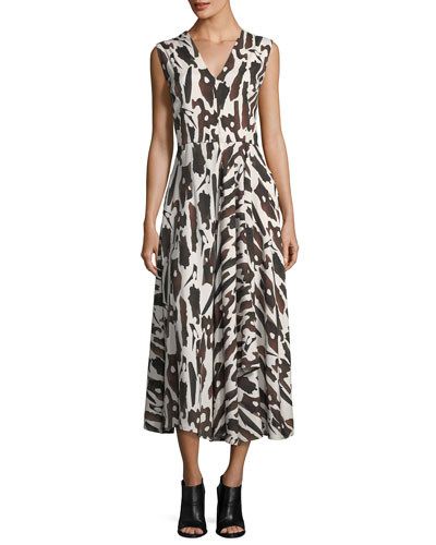 Sleeveless Bark-Print Dress