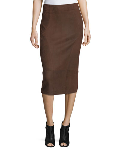 Oiled Leather Pencil Skirt