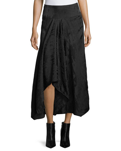 Textured High-Low Midi Skirt
