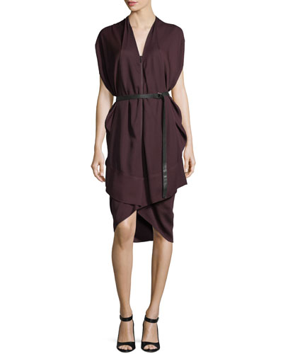 V-Neck Cap-Sleeve Belted Draped Dress
