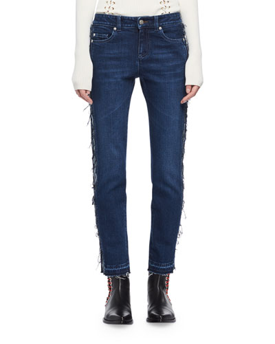 Frayed Denim Ankle Jeans