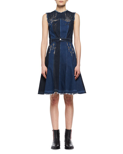 Metallic Embroidered Denim Patchwork Dress