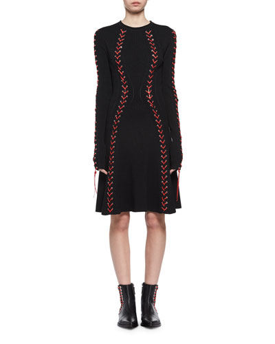 Laced Long-Sleeve Knit Dress