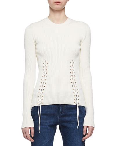 Laced Knit Crewneck Top