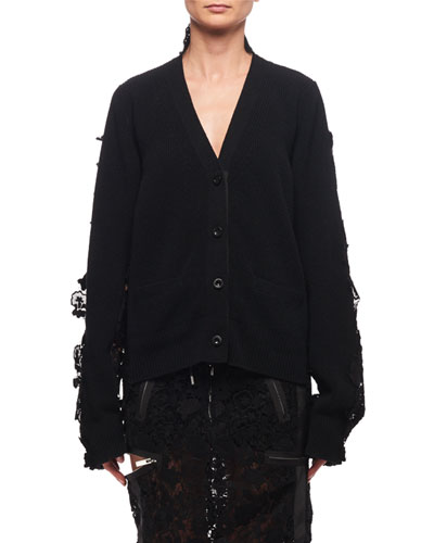 Lace-Trim Wool Cardigan