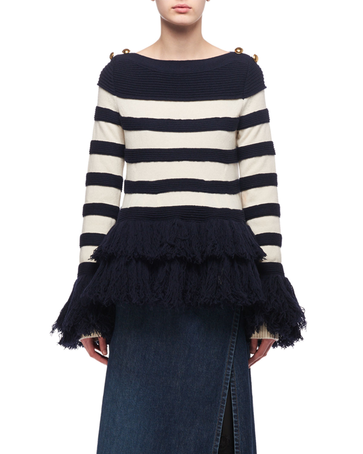 Striped Fringe-Hem Sweater