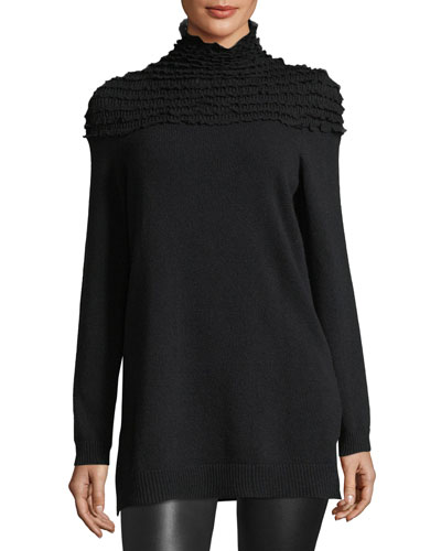 Gathered Mock-Neck Knit Top