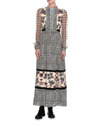 Long-Sleeve Mixed-Media Dress