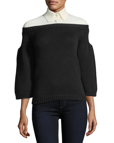 3/4-Sleeve Knit Top w/Polo Collar