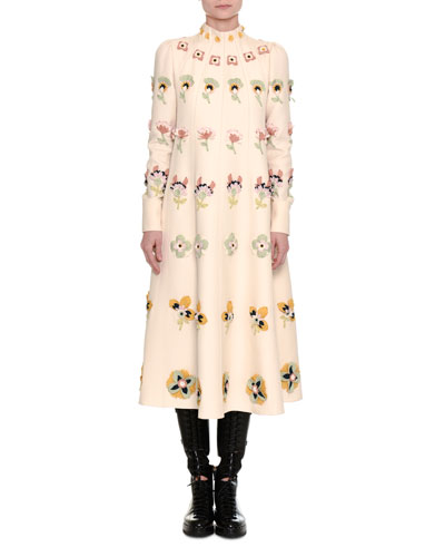 Floral-Embroidered Crepe Couture Dress