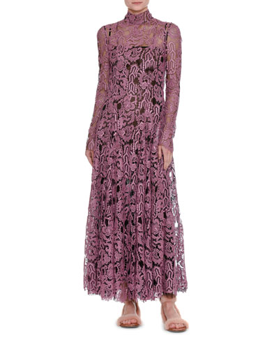 Long-Sleeve Mock-Neck Lace Maxi Dress