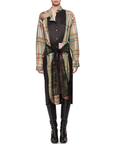 Patchwork Check Lace Shirtdress