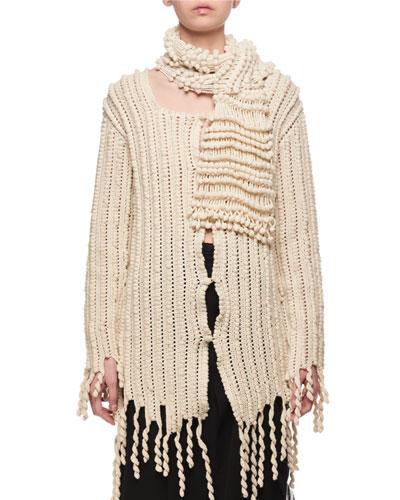 Wool Fringe Cardigan Sweater
