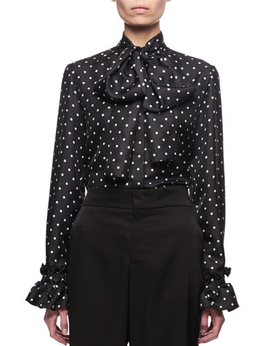 Tie-Neck Polka Dot Silk Blouse