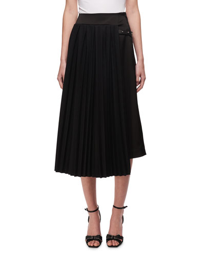 Pleated Asymmetric Midi Skirt