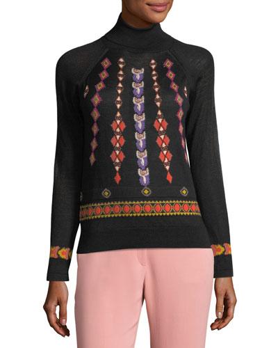 Diamond-Pattern Turtleneck Sweater