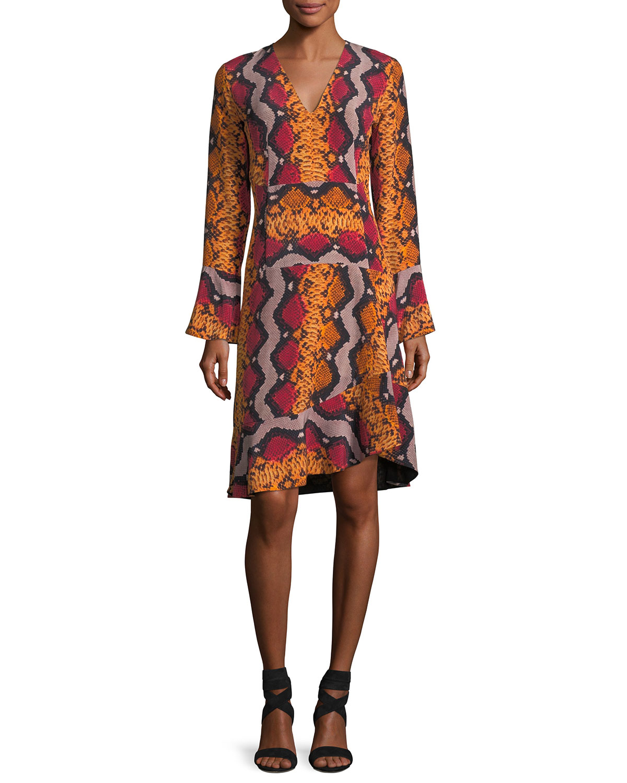 Long-Sleeve Snake-Print Silk Dress