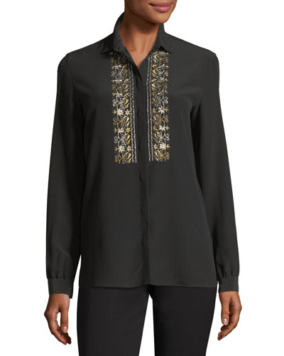Metallic-Embroidered Silk Blouse