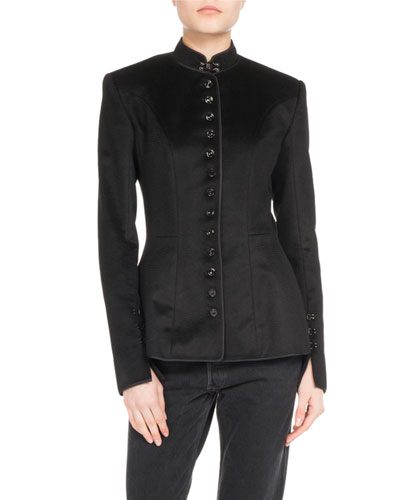 Mandarin Collar Button-Front Jacket