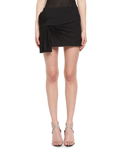 Pleated Virgin Wool Miniskirt
