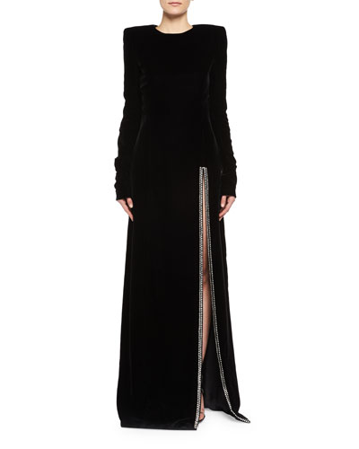 Long-Sleeve Velvet Crystal-Slit Gown