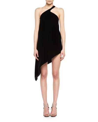 One-Shoulder Asymmetric Velvet Dress