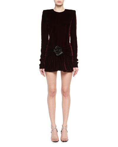 Long-Sleeve Velvet Drop-Waist Dress