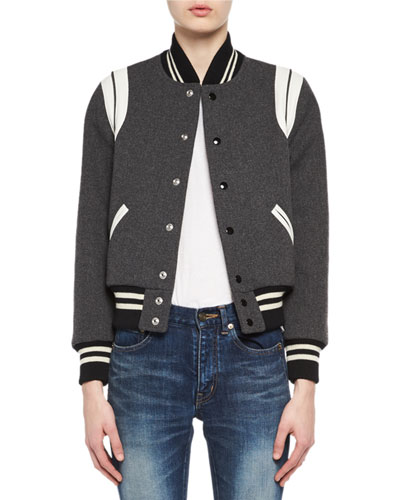 Classic Teddy Virgin Wool Bomber Jacket