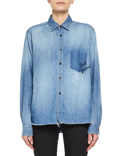 Denim Shirt with Shadow Pocket