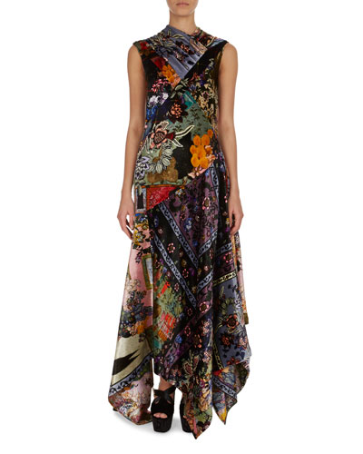 Patchwork Floral Velvet Silk Handkerchief-Hem Dress