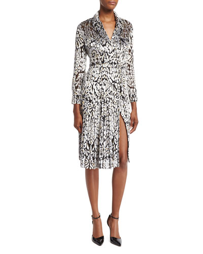 Long-Sleeve Leopard-Print Wrap Dress