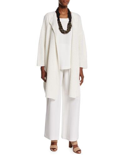 Open-Front Cashmere/Silk Coat